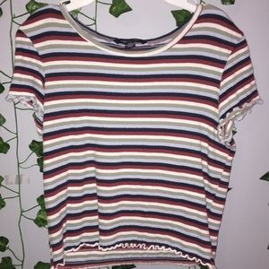 AEO ribbed striped lettuce tee crop top